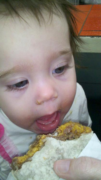 Darla's first taste of a Combo burrito